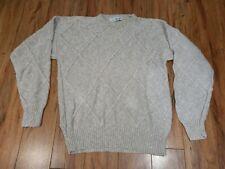 Pringle of Scotland Brown Ivory Vintage Heavy Knit Sweater Men Size Medium M