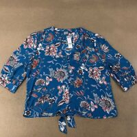 SOHO Jeans NY&C Women's Size XL Teal Floral Print Tie Front Shear Blouse NWT