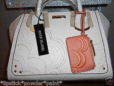 RIVER ISLAND STYLISH WHITE EMBOSSED WINGED TOTE BAG WITH PURSE CHARM BNWT