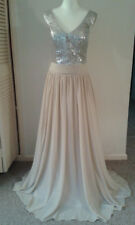 Stunning sequin bodice full length prom party dress with lace back size 10