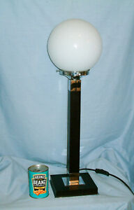 Large Bespoke Art Deco Style  Black & Chrome Lamp - With Glass Globe Shade