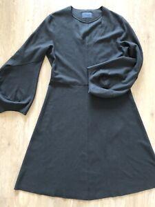 Oska Wool Dress Olive Green Size 2, Uk 12 A Line V Neck