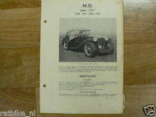 MG1-MG TYPE TC 1946-1947-1948-1949 TECHNICAL INFO VINTAGE CAR OLDTIMER