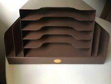 Vintage Curmanco Metal Office File Desk Organizer Brown W Slanted Back Usa