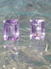 Amethyst Emerald Cut Stud Earrings14kt Solid White Gold
