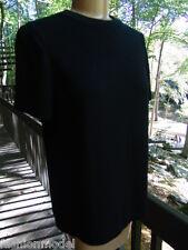 ST. JOHN BASICS Marie Gray BLACK short sleeve SWEATER knit TOP flawless! S/M