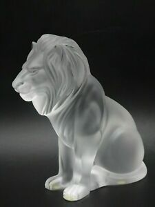 "LALIQUE CRYSTAL ""BAMERA LION"" FIGURINE ~ 8"" TALL ~ #1165600 ~ MSRP $1900 ~ MINT"