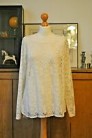 NEXT LACE FRONT IVORY TOP BLOUSE SIZE UK 20
