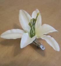 """3 1/2"""" Cream Lily Silk Flower French Barrette,Wedding, Dance,Prom, Luau,Bridal"""