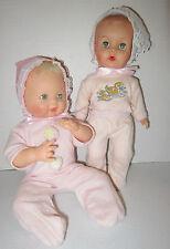 "Lot of 2  AE early 1960's drink & wet 12""-10"" vinyl baby dolls-orig pajamas  VGC"