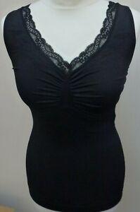 Italian Medium Control Cami with Lace & Heart design in Nude & Black Sml & M