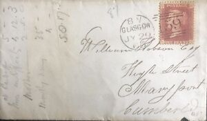 GB QV 1865 COVER PENNY RED 'RG' PLATE 87 GLASGOW TO MARYPORT DT 29TH JULY 1865.