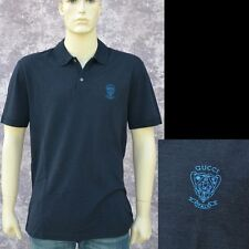 57911ed2 GUCCI New sz XXL 2XL Mens Designer Authentic Logo Slim Fit Polo Shirt Ink  Blue