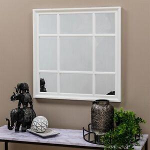 WHITE WINDOW STYLE WALL MIRROR MANTEL HALLWAY SQUARE WINDOW MIRROR