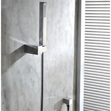 Square Handheld Shower Head With Hose Wall Bracket Holder Water Inlet Elbow Set