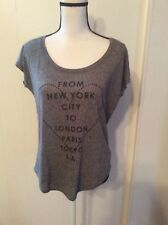 AMERICAN EAGLE OUTFITTERS Favorite Tee Gray Knit TOP Stud Heart NY LA Paris M