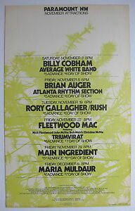 RUSH FLEETWOOD MAC Paramount Northwest 1974 US Cardboard CONCERT POSTER Blues