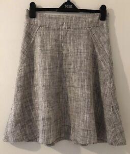 Next Linen Cotton Blend Grey Skirt Size 8
