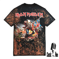 Iron Maiden Trooper T shirt Bleach Tie Dye Distressed Rock Band Womens and Mens