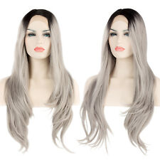 "24"" Popular Black Mixed Grey Wavy Heat Resistant Women Hair Lace Front Wig + Cap"