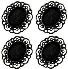 Cameo Cabochon Setting Antique Black with Fancy Edging 23 x 18