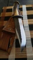 JJhunters Custom Made 14'INCH Hunting Knife Stag Horn With Leather Sheath