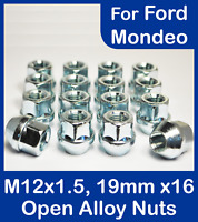 16x M12 x 1.5, 19mm Hex Open Alloy Wheel Nuts, For Ford Mondeo (Zinc)