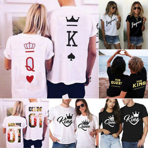 Sweet Couple Lover T-Shirt King And Queen Love Romantic Matching Tee Top Clothes