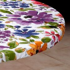 Round Elasticized Tablecloth Table Cover White Floral Vinyl Fitted Cover 36