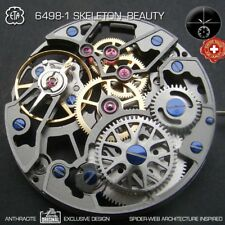 MOVEMENT ETA UNITAS 6498-1, SPIDER SKELETON BEAUTY, ANTHRACITE, B-LINE TUNING