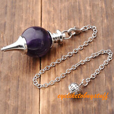 Amethyst Pendulum Divination Healing Point Chakra Ball Bead Wicca Chain Pendant