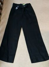 Marks and spencer Ladies Linen Trousers wide leg black uksize 12 LONG-nwt