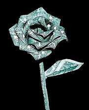 Origami Money Rose flower 10 real $1 bills Graduation holiday unique Gift Decor