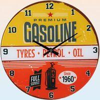 """Glas-Wanduhr Wall Clock Ø ca. 30 cm Uhr mit ansprechendem Motiv: """"Gasoline"""""""