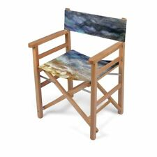 Seashore Designer Director Chair, Handmade to order, Sustainable Wood, Art Print