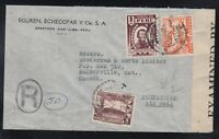 Peru 1941 WWII Censored Registered Airmail Cover to Walkerville Canada