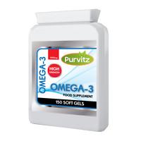 Omega 3 1000mg Capsules Fish Oil HIGH Strength  EPA & DHA UK PurVitz