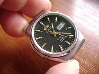Vintage Orient Automatic Day Date Crystal Dial Wrist Watch ORIGINAL Japan Men's