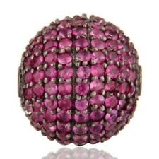 Natural Pink Sapphire Black Rhodium 925 Sterling Silver Bead Finding Jewelry