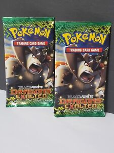 2 AUTHENTIC POKEMON BLACK & WHITE DRAGONS EXALTED BOOSTER PACKS- from 2012