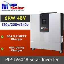 6000w 48vdc 120v/208V/240V Split phase Solar inverter 80A Dual MPPT charger