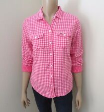 NWT Hollister Womens Plaid Flannel Shirt Size XS Top Blouse Pink & White