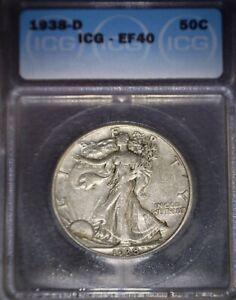 1938-D Walking Liberty Half Dollar ICG-EF40 ,Better Date, Issue Free !!