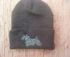 Scottie Scotty Dog Charcoal Embroidered Beanie