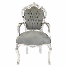 CHAIRS FRANCE BAROQUE STYLE DINING ROYAL CHAIR WITH ARMRESTS SILVER/GREY #70F31