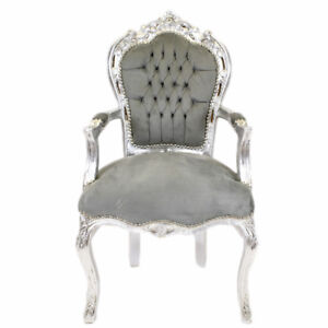 CHAIRS - FRANCE BAROQUE STYLE DINING ROYAL CHAIR WITH ARMS SILVER/GREY #70F31