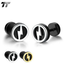 TT 8mm Stainless Steel Lightning Fake Ear Plug Earrings (BE210) NEW