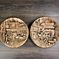 Vintage W.H. BOSSONS Chalkware Plaque Set Wall Hangings Decor Arrival Departure
