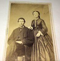 Antique American Civil War Victorian Fashion Couple! Bristol, Vermont CDV Photo!