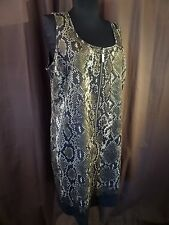 MICHAEL KORS Women's Animal Snakeskin Safari Green Tank Zip Dress BFHO $150 2 XS